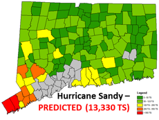 Predicted outages from Hurricane Sandy (2012) in Eversource CT service territory