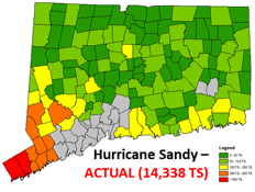 Actual outages from Hurricane Sandy (2012) in Eversource CT service territory