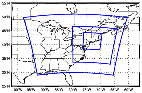 Figure: Nested domains (18 km outer, 6 km middle, and 2 km inner) centered over the southern New England region for UConn's implementation of the Weather Research and Forecasting (WRF) model.